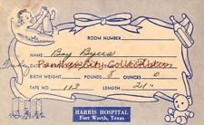 Vintage c1930s Harris Hospital Fort Worth Texas Baby Birth Info Card