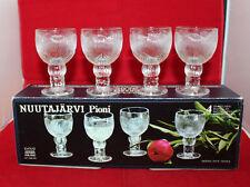 Nuutajarvi Arabia Finland Pioni Set of 4 Shot Glasses Clear Oiva Toikka Vintage