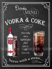 Vodka & Coca Cola Retro Pub, Bar, Club, Hombre Cobertizo, casa Barra, Metal SIGN-Placa Regalo