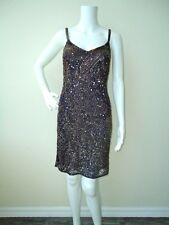 NWT Navy/Gold Beaded Slip Dress by Theia - Size 4