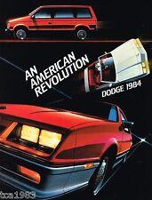 1984 Dodge ARIES/OMNI/COLT/RAM/150/DIPLOMAT/CHARGER/600/PickUp Truck Brochure