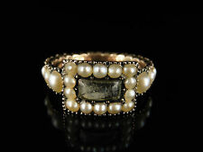 GEORGIAN PEARL, CRYSTAL & GOLD MOURNING RING - CIRCA 1800