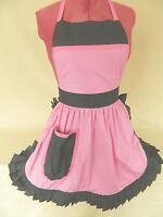 RETRO VINTAGE 50s STYLE FULL APRON / PINNY - PINK & WHITE SPOT with BLACK TRIM