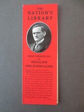 Vintage BOOKMARK Nations Library Socialism and Syndicalism Philip Snowden 1913