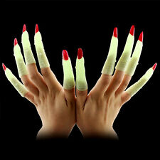 10 x Halloween Green Scary Witch Fingers  Prosthetic Hands Nails Fancy Dress