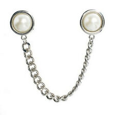 Women's Faux Pearl Beads Tassel Curb Chain Shirt Collar Brooch Pin Neck Tip