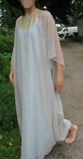 VTG Caftan maxi Gold Egyptian Embroidery boho wedding gypsy Hostess lounge ware
