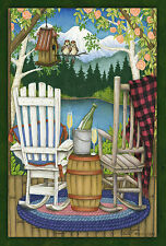 The back porch house lake side great outdoors Toland Small Garden Flag