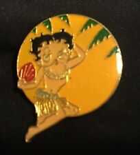 Vintage Betty Boop in Grass Skirt, Lei with Fan Hawaii Lapel Pin / New Old Stock