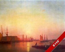 ST PETERSBURG STOCK EXCHANGE SHIPS SAILBOAT SEASCAPE PAINTING ART CANVAS PRINT