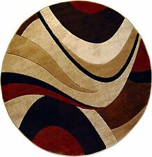 "Modern Curves Brown Area Rug 5x5 Contemporary Waves - Actual 5'2"" x 5'2"" Round"