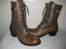 Alberto Fermani Leather Mid - Calf  Combat Boots Shoes Size EUR  39, US 8 - 8.5