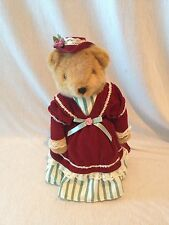 """Avon Collectible Stuffed Victorian Brown Plush Bear With Stand 14"""""""