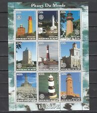 """ Benin, 2003 Cinderella issue. European Lighthouses on a sheet of 9."