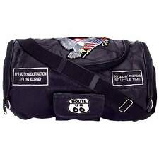 Diamond Plate™ Rock Design Leather Motorcycle Barrel Bag with Patches
