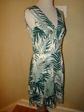 H & M DARK GREEN WHITE BOITANICAL FLORAL FLOWER 50'S 60'S MAD MEN STYLE DRESS M