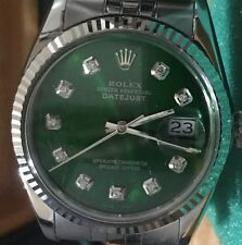 Rolex mens Green diamond Dial 36mm Date just automatic watch