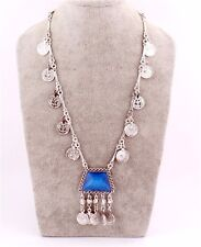 Vintage Boho Coin Belly Blue Crystal Dance Bohemian Festival Jewelry Necklace