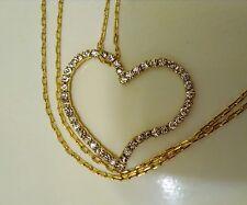 Rhinestone Open Heart Pendant Necklace, 2001 Avon, Leftover Stock, Korea