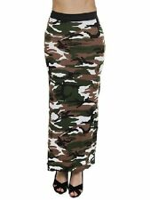WOMENS LEOPARD STRIPE SKULLS CAMO MULTI PRINT GYPSY LONG JERSEY MAXI DRESS SKIRT