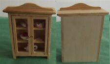 Child's Wooden Dollhouse China Cabinet w/Dishes