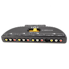 4-Way Audio Video AV RCA Switch Game Selector Box Splitter Black BT
