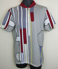 Vtg Cycling Retro Jersey Santini Top Grey Shirt Vintage Trikot Maillot Maglia XL