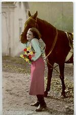 Donnina con Cavallo e Fiori Vera Foto Real Photo Horse Lady PC Circa 1920