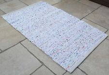 White Pastel Chindi Rag Rug Handmade Recycled Cotton 90x150cm 3x5ft Hemmed