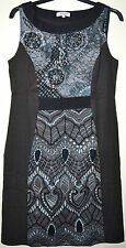LADIES M&S PER UNA PURE COTTON SLEEVELESS EMBROIDERED DRESS SIZE 14 GREY MIX NEW