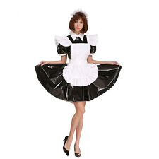 Sissy Maid Lockable Black PVC Dress Crossdressing For Men Plus Size Costume