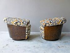 RARE PAIR 70'S SIGNED MILO BAUGHMAN BURL BARREL BACK LOUNGE CHAIRS