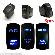 3Pcs Rocker Switch Front & Rear & LED Light Backlit Switch For Vehicle Truck ATV