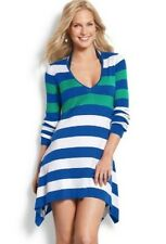 NWT L TOMMY BAHAMA Hi-Low Beach Sweater Tunic Top $118 Large Surf Blue Stripe