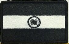 INDIA Flag Military Patch With VELCRO® Brand Fastener B & W Black Border