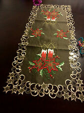 "16""x36""  Embroidered Christmas Tablecloth Cutwork Design Table Runner Home Decor"