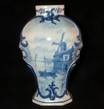 DUTCH DELFTWARE LARGE VASE C.1910 *BLUE ON WHITE DECOR*