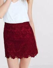 NEW SOLDOUT EVERYWHERE WOMENS EXPRESS crocheted high waisted a line skirt red xs