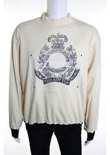 GIANFRANCO FERRE Men's Beige Cotton Crew Neck Long Sleeve Pull Over Sweater Sz L