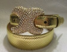 """WCM GOLD 1 1/4"""" WIDE REPTILE BELT WITH Decorative Rhinestone Buckle size M"""