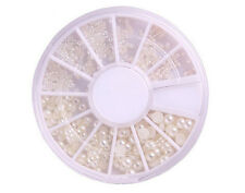 Half Baby Pearl Beads Pealy Wheel Mixed Size for Nail Art Deco Tips WHITE