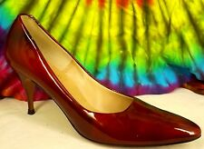 7.5-8-8.5 vtg 60s GINO MORINI candy apple red patent leather pumps heels shoes