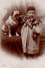 Cute Boy In Outrageous Dress and his Chubby Pug Dog ~ Vintage Cabinet Photo