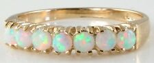 DIVINE ENGLISH 9K GOLD FIERY AAA OPAL HALF ETERNITY RING,  FREE RESIZE