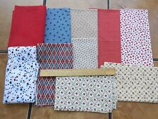 Fabric Lot 3+ Yards Red Dots Calico Star Flowers Cherries Flags 10 Pieces Cotton