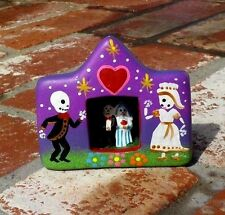 DAY OF THE DEAD CLAY BRIDE & GROOM SCENE RETABLO HAND MADE IN PERU FREE SHIPPING