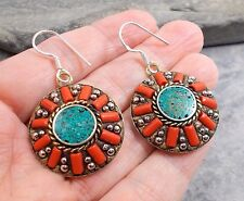 925 Silver Tibet Nepal TURQUOISE RED CORAL Earrings E579~Silverwave*uk Jewellery