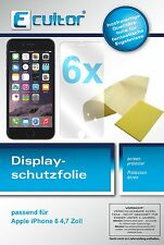 8x Ecultor Apple iPhone 6 4,7 Zoll klare Displayschutzfolie Crystalclear Folie