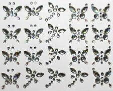 20 Self Adhesive AB Clear Butterfly & Dragonfly Stickers For Wedding Card Craft
