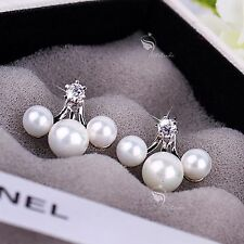 18k white gold gf genuine SWAROVSKI crystal stud pearl ear jacket 925 silver